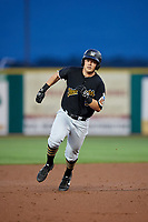 West Virginia Black Bears right fielder Brett Kinneman (5) runs the bases during a game against the State College Spikes on August 30, 2018 at Medlar Field at Lubrano Park in State College, Pennsylvania.  West Virginia defeated State College 5-3.  (Mike Janes/Four Seam Images)