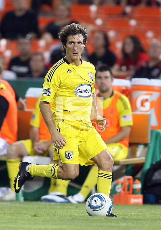 Guillermo Barros Schelotto #7vof the Columbus Crew during a US Open Cup semi final match against D.C. United at RFK Stadium on September 1 2010, in Washington DC. Crew won 2-1 aet.