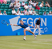 June 14th 2017, Nottingham, England; ATP Aegon Nottingham Open Tennis Tournament day 5;  Marc Polmans of Australia just fails to reach a wide forehand