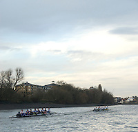 Putney, London.  Pre Varsity Boat race fixture. Cambridge [Blue Boat] move ahead comfortably, on their way to a 4 length win, in the first trial, Cambridge UBC. vs GBR U23 crew raced over parts of the Championship Course, [Putney to Mortlake].  Race divided into two trials. 1. Start to Hammersmith Pier. 2. Chiswick Eyot to Finish. River Thames. Saturday   26/02/2011 [Mandatory Credit -Karon Phillips/Intersport Images]..Crews:..CAMBRIDGE [Blue Boat] Bow,  Mike THORP, Joel JENNINGS,  Dan RIX-STANDING,  Hardy CUBASCH,  George NASH,  Geoff ROTH , Derek RASMUSSEN, Stroke David NELSON and Cox Tom FIELDMAN..GB Under-23s Bow, Oliver STAITE, Jack CADMAN,  Alex TORBICA, Alex DAVIDSON, Matt TARRANT, Ertan HAZINE,  Mason DURANT,  Stroke Scott DURANT and Cox Max GANDER .