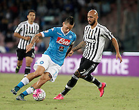 Calcio, Serie A: Napoli vs Juventus. Napoli, stadio San Paolo, 26 settembre 2015. <br /> Napoli&rsquo;s Marek Hamsik, left, is challenged by Juventus&rsquo;s Simone Zaza during the Italian Serie A football match between Napoli and Juventus at Naple's San Paolo stadium, 26 September 2015.<br /> UPDATE IMAGES PRESS/Isabella Bonotto