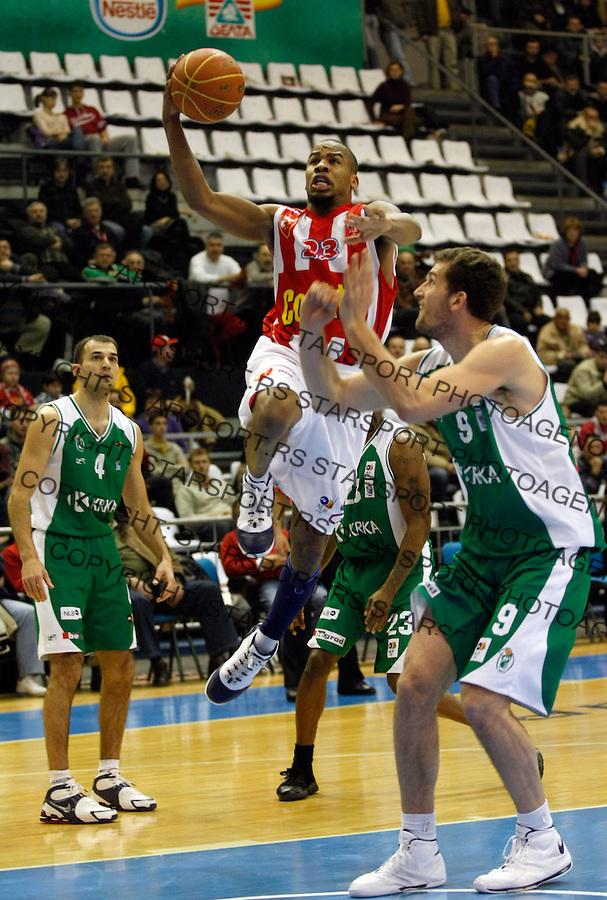 Kosarka, NLB League, season 2008/09.Crvena Zvezda Vs. Krka (Slovenija).Andre Owens, center.Beograd, 03.01.2009..Photo: © Srdjan Stevanovic/Starsportphoto.com