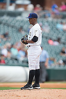 Charlotte Knights starting pitcher Miguel Chalas (7) looks to his catcher for the sign against the Gwinnett Braves at BB&T BallPark on July 3, 2015 in Charlotte, North Carolina.  The Braves defeated the Knights 11-4 in game one of a day-night double header.  (Brian Westerholt/Four Seam Images)