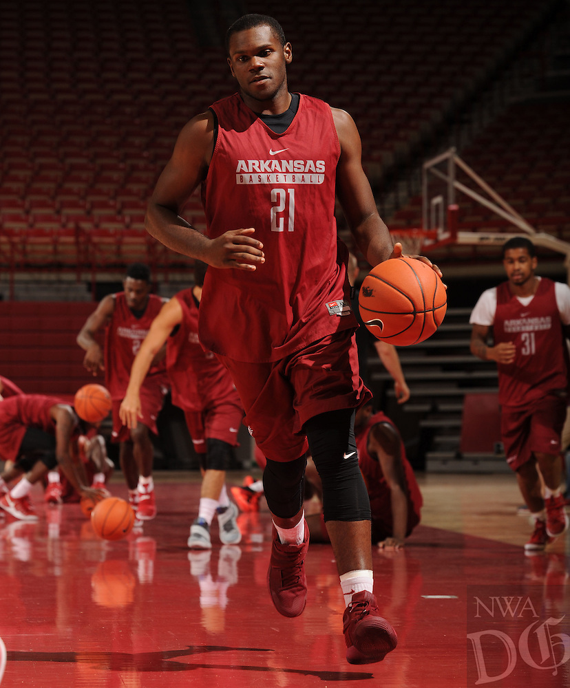 NWA Democrat-Gazette/ANDY SHUPE<br /> Arkansas' Manuale Watkins participates in practice Wednesday, Oct. 5, 2016, in Bud Walton Arena. Visit nwadg.com/photos to see more photos from Media Day and practice.