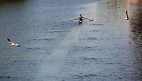 Pictured: A man in a boat sails past the National Stadium of Wales (aka Principality Stadium) in river Taff Thursday 25 May 2017<br />Re: Preparations for the UEFA Champions League final, between Real Madrid and Juventus in Cardiff, Wales, UK.