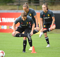 20170722 - RIJEN , NETHERLANDS : Aline zeler (L) with Maud Coutereels (M) and Tessa Wullaert (R)  pictured during the training on the pitch of VV Rijen , The Netherlands PHOTO SPORTPIX.BE | DIRK VUYLSTEKE