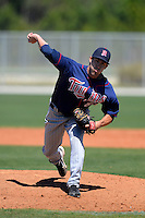 Minnesota Twins pitcher Zach Jones #67 during a minor league Spring Training game against the Boston Red Sox at JetBlue Park Training Complex on March 27, 2013 in Fort Myers, Florida.  (Mike Janes/Four Seam Images)