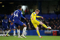 Alfie Egan of AFC Wimbledon takes a shot at the Chelsea goal during Chelsea Under-21 vs AFC Wimbledon, Checkatrade Trophy Football at Stamford Bridge on 4th December 2018