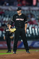 Louisville Cardinals starting pitcher Brendan McKay (38) looks to his catcher for the sign against the Notre Dame Fighting Irish in Game Eight of the 2017 ACC Baseball Championship at Louisville Slugger Field on May 25, 2017 in Louisville, Kentucky. The Cardinals defeated the Fighting Irish 10-3. (Brian Westerholt/Four Seam Images)