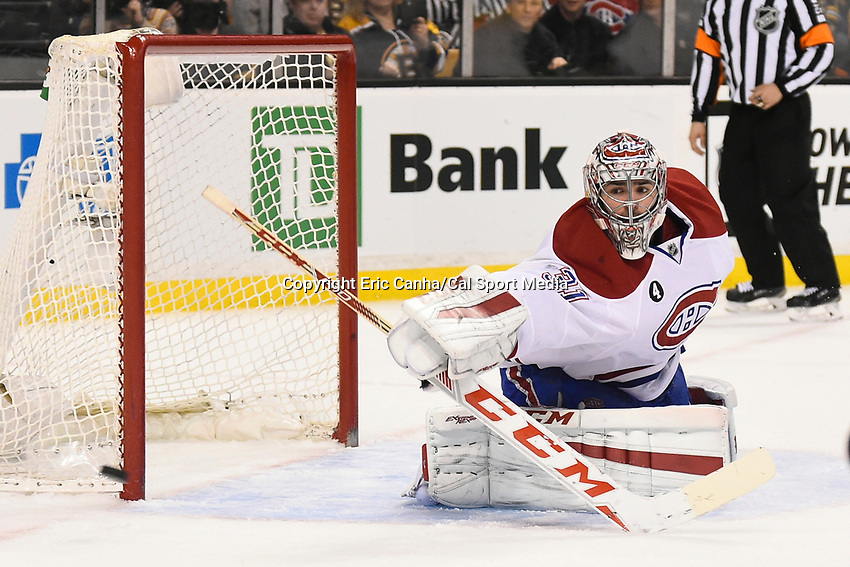 February 8, 2015 - Boston, Massachusetts, U.S. - Montreal Canadiens goalie Carey Price (31) keeps both eyes on the puck during the NHL game between the Montreal Canadiens and the Boston Bruins held at TD Garden in Boston Massachusetts. The Canadiens defeated the Bruins 3-1 in regulation time. Eric Canha/CSM
