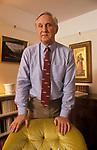 Sir Crispin Tickell portrait a former diplomat leading environmental authority at home in his London flat