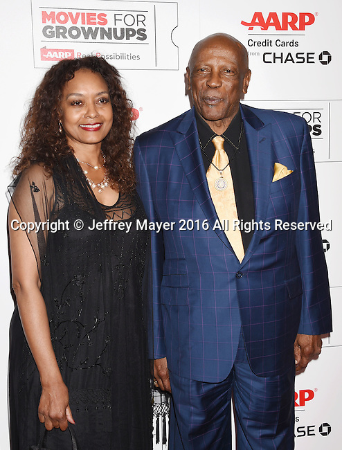 BEVERLY HILLS, CA - FEBRUARY 08: Actors Candy Brown and Louis Gossett Jr. attend AARP's Movie For GrownUps Awards at the Regent Beverly Wilshire Four Seasons Hotel on February 8, 2016 in Beverly Hills, California.