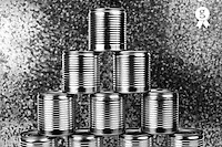 Pyramid of tin cans, on metallic background (Licence this image exclusively with Getty: http://www.gettyimages.com/detail/102918623 )