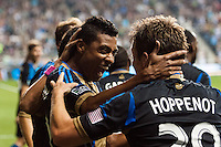 Jose Kleberson (19) of the Philadelphia Union celebrates scoring with teammates. The Philadelphia Union defeated Toronto FC 1-0 during a Major League Soccer (MLS) match at PPL Park in Chester, PA, on October 5, 2013.