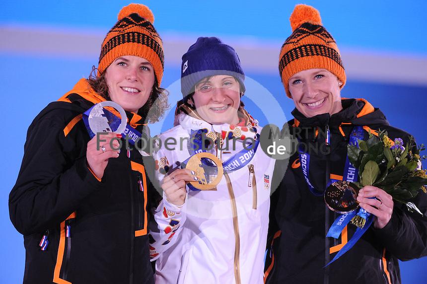 OLYMPICS: SOCHI: Medal Plaza, 19-02-2014, Ladies' 5000m, Ireen Wüst (NED), Martina Sábliková (CZE), Carien Kleibeuker (NED), ©photo Martin de Jong