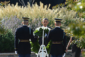 United States President Barack Obama lays a wreath during the 12th anniversary commemoration of the 9/11 terrorist attacks at the Pentagon Memorial at the Pentagon in Washington, DC on September 11, 2013. Nearly 3,000 people were killed in the attacks in New York, Washington and Shanksville, Pennsylvania.    <br /> Credit: Pat Benic / Pool via CNP