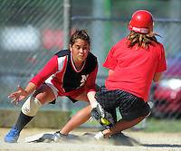 Newland's Lydia Koko-Lutau tags out Saints pinch hitter Te Kiriahi Weston. Hutt Valley Saints v Newlands - Intercity Women's Premier One Softball at Hataitai Park, Wellington on Saturday 18 December 2010. Photo: Dave Lintott / lintottphoto.co.nz
