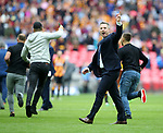 Millwall's Neil Harris tells his fans to get off the pitch during the League One Play-Off Final match at Wembley Stadium, London. Picture date: May 20th, 2017. Pic credit should read: David Klein/Sportimage