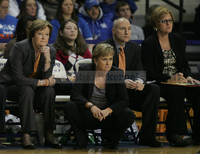 Pat Summitt, head coach of the University of Tennessee Lady Vols, sat on the bench with assistant coaches during UT's 60-61 loss to the University of Kentucky, at Memorial Coliseum, on Thursday, Jan. 12, 2012. Photo by Latara Appleby | Staff ..