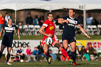 Western New York Flash defender Katherine Reynolds (16) and Sky Blue FC midfielder Brittany Bock (10). Sky Blue FC defeated the Western New York Flash 1-0 during a National Women's Soccer League (NWSL) match at Yurcak Field in Piscataway, NJ, on April 14, 2013.