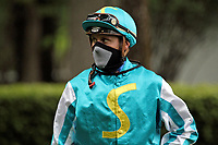 15th May 2020, Muenchen-Riem racecourse, Munich, Germany. Flat racing;  Jockey Martin Seidl with protective mask