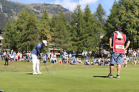 Doug Ghim (USA) putts on the 5th green during Saturday's Round 3 of the 2018 Omega European Masters, held at the Golf Club Crans-Sur-Sierre, Crans Montana, Switzerland. 8th September 2018.<br /> Picture: Eoin Clarke | Golffile<br /> <br /> <br /> All photos usage must carry mandatory copyright credit (&copy; Golffile | Eoin Clarke)