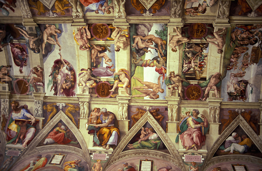 Italy, Rome, The Vatican. Michaelangelo's Sistine Chapel ceiling painting