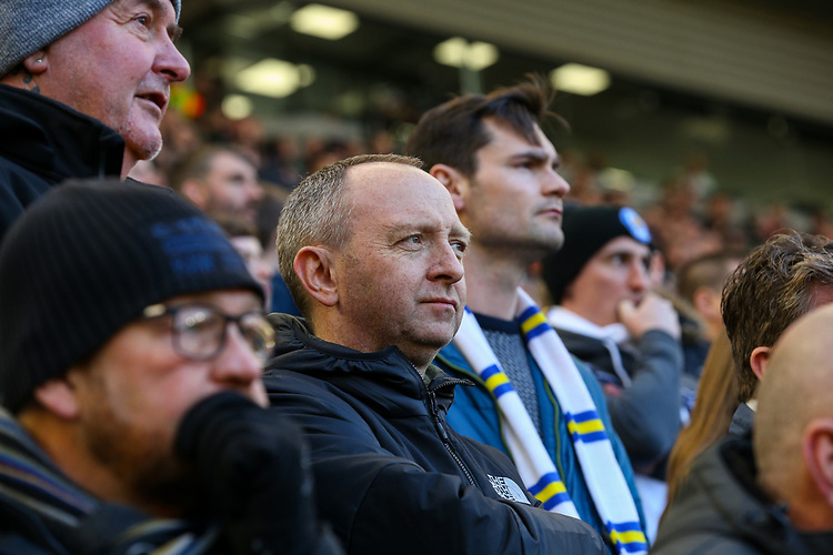 Leeds United fans watch on during the first half<br /> <br /> Photographer Alex Dodd/CameraSport<br /> <br /> The EFL Sky Bet Championship - Middlesbrough v Leeds United - Saturday 9th February 2019 - Riverside Stadium - Middlesbrough<br /> <br /> World Copyright © 2019 CameraSport. All rights reserved. 43 Linden Ave. Countesthorpe. Leicester. England. LE8 5PG - Tel: +44 (0) 116 277 4147 - admin@camerasport.com - www.camerasport.com