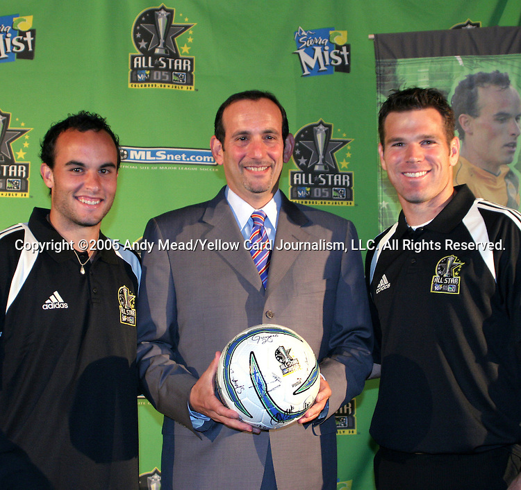 29 July 2005: MLS Commissioner Don Garber (center) poses with MLS All-Stars Landon Donovan (l) and Greg Vanney (r) the day before the MLS All-Stars played Fulham FC of the English Premier League at Columbus Crew Stadium in Columbus, Ohio in the 2005 Major League Soccer Sierra Mist All-Star Game..