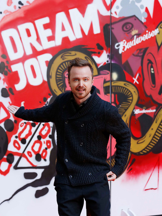 No Repro Fee.<br /> (12th Jan.2015) Pictured here is &lsquo;Breaking Bad&rsquo; superstar, actor Aaron Paul reminding talented and passionate members of the public they have just three more weeks to enter Budweiser Dream Job for the chance to kick-start their dream career with a &euro;50,000 prize fund. Anyone over 18 years can apply on the Budweiser Facebook page by telling the judges what their dream job is and why they feel passionate about pursuing it. The application phase is now open until 4th February, 2015. Pic. Robbie Reynolds<br /> <br /> Use the twitter hash tag #DreamJob to share your dream career aspirations and visit Facebook.com/Budweiser for full details and terms &amp; conditions.