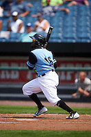 Syracuse Chiefs outfielder Tony Gwynn Jr. (18) at bat during a game against the Pawtucket Red Sox on July 6, 2015 at NBT Bank Stadium in Syracuse, New York.  Syracuse defeated Pawtucket 3-2.  (Mike Janes/Four Seam Images)