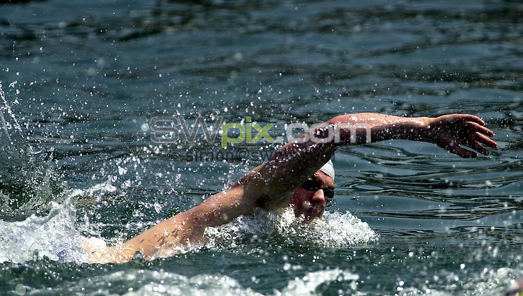 Pix: Matthew Lewis/SWpix.com. Swimming. 10th Fina World Championships 2003, Barcelona. 13/07/2003...COPYRIGHT PICTURE>>SIMON WILKINSON>>01943 436649>>..Great Britain's David Proud in the Mens 5km Open Water Final.