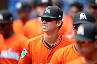 Miami Marlins Connor Scott (24) in the dugout during a Florida Instructional League game against the Washington Nationals on September 26, 2018 at the Marlins Park in Miami, Florida.  (Mike Janes/Four Seam Images)