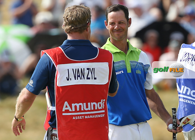 Caddie John Rawlings overjoyed as Jaco Van Zyl (RSA) leads the field on -10 after a round of 64 during Round Three of the 2015 Alstom Open de France, played at Le Golf National, Saint-Quentin-En-Yvelines, Paris, France. /04/07/2015/. Picture: Golffile | David Lloyd<br /> <br /> All photos usage must carry mandatory copyright credit (&copy; Golffile | David Lloyd)
