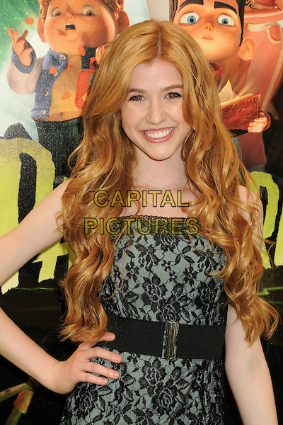 "Katherine McNamara.""ParaNorman"" Los Angeles Premiere held at AMC CityWalk Stadium 19 Theatre, Universal City, California, USA..August 5th, 2012.half length black lace dress hand on hip.CAP/ADM/BP.©Byron Purvis/AdMedia/Capital Pictures."