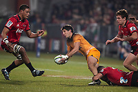 Jaguares' Tomas Cubelli looks for support during the 2019 Super Rugby final between the Crusaders and Jaguares at Orangetheory Stadium in Christchurch, New Zealand on Saturday, 6 July 2019. Photo: Joe Johnson / lintottphoto.co.nz