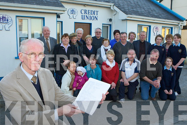 Seamus McCarthy and the people from Gneeveguilla village who have collected signatures in protest against the removal of the medical facilities from Gneeveguilla Credit Union ..