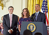 United States President Barack Obama presents the Presidential Medal of Freedom to Bill and Melinda Gates during a ceremony in the East Room of the White House in Washington, DC on Tuesday, November 22, 2016.  The Presidential Medal of Freedom is the Nation's highest civilian honor.<br /> Credit: Ron Sachs / CNP