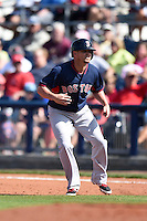 Boston Red Sox second baseman Mike McCoy (48) during a spring training game against the Tampa Bay Rays on March 25, 2014 at Charlotte Sports Park in Port Charlotte, Florida.  Boston defeated Tampa Bay 4-2.  (Mike Janes/Four Seam Images)