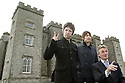 Noel Gallagher, Lord Henry Mount Charles and Jem Archer  pose for the press outside Slane Castle, after it was announced that Oasis will be playing there Saturday June 20th, 2009. (Subject to License). Photo/Paul McErlane