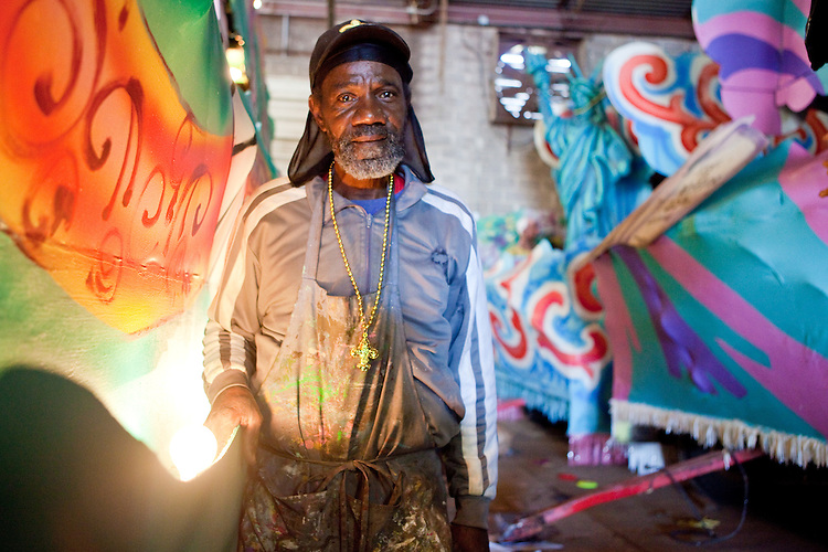 Anthony Thompson, a Mardi Gras float builder at Barry Barth (Artists and Designers), in New Orleans on February 2, 2010.