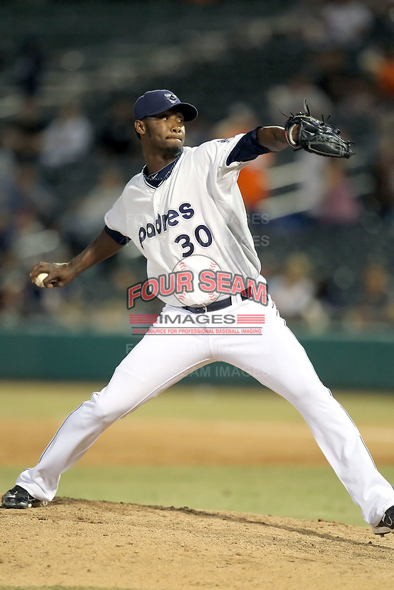 Samuel Deduno #30 of the Tucson Padres plays in a Pacific Coast League game against the Tacoma Rainiers at Kino Stadium on June 4, 2011  in Tucson, Arizona. .Photo by:  Bill Mitchell/Four Seam Images.