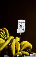 Bananas for sale at the Charlotte Regional Farmers Market, one of five farmers markets owned by the state of North Carolina and operated by the NC Department of Agriculture and Consumer Services (NCDA&CS). The year-round market, located at 1801 Yorkmont Road, Charlotte, NC, sells everything from fresh produce to fresh pork and beef, ostrich, emu, baked goods, jams, jellies, crafts, plants and more.
