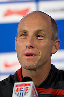 USA men's head coach Bob Bradley participates in a press conference prior to the USA vs Mexico game at Reliant Stadium in Houston, TX on February 5, 2008.