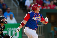 Matt Adams (25) of the Springfield Cardinals follows through his swing during a game against the Corpus Christi Hooks at Hammons Field on August 13, 2011 in Springfield, Missouri. Springfield defeated Corpus Christi 8-7. (David Welker / Four Seam Images)