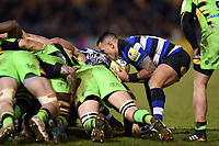 Kahn Fotuali'i of Bath Rugby puts the ball into a scrum. Aviva Premiership match, between Bath Rugby and Northampton Saints on February 9, 2018 at the Recreation Ground in Bath, England. Photo by: Patrick Khachfe / Onside Images