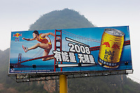 Red Bull billboard, sponsor for 2008 Beijing Olympic Games, near Guilin, China