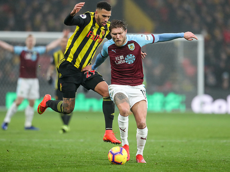Burnley's Jeff Hendrick competing with Watford's Etienne Capoue<br /> <br /> Photographer Andrew Kearns/CameraSport<br /> <br /> The Premier League - Watford v Burnley - Saturday 19 January 2019 - Vicarage Road - Watford<br /> <br /> World Copyright &copy; 2019 CameraSport. All rights reserved. 43 Linden Ave. Countesthorpe. Leicester. England. LE8 5PG - Tel: +44 (0) 116 277 4147 - admin@camerasport.com - www.camerasport.com