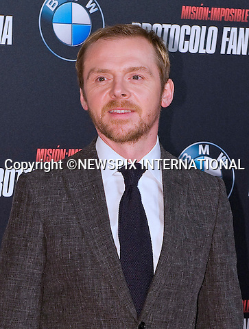 "SIMON PEGG.attends the premiere of his latest film 'Mission: Impossible - Ghost Protocol'Madrid, Spain_12/12/2011.Mandatory Credit Photo: ©NEWSPIX INTERNATIONAL..                 **ALL FEES PAYABLE TO: ""NEWSPIX INTERNATIONAL""**..IMMEDIATE CONFIRMATION OF USAGE REQUIRED:.Newspix International, 31 Chinnery Hill, Bishop's Stortford, ENGLAND CM23 3PS.Tel:+441279 324672  ; Fax: +441279656877.Mobile:  07775681153.e-mail: info@newspixinternational.co.uk"