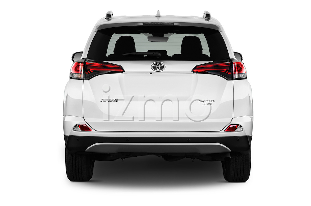 Straight rear view of 2016 Toyota RAV4 Limited 5 Door SUV Rear View  stock images